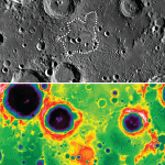 The top image is the South Pole-Aitken basin taken by the Lunar Reconnaissance Orbiter's Wide Angle Camera.  Credit: NASA/Goddard/Arizona State University.  The lower image is from the Lunar Orbiter Laser Altimeter. Mafic Mound is the reddish splotch in the middle (Red is high ground, blue is low).  Credit: NASA/Goddard/MIT/Brown University.