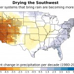 Weather systems that typically bring moisture to the southwestern United States are forming less often, resulting in a drier climate across the region. This map depicts the portion of overall changes in precipitation across the United States that can be attributed to these changes in weather system frequency. The gray dots represent areas where the results are statistically significant.  Credit: Andreas Prein, NCAR.