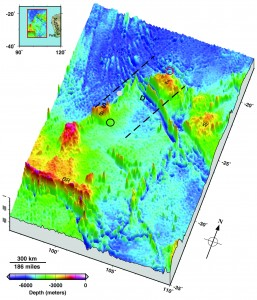 Seafloor topography in the Malaysia Airlines flight MH370 search area. Dashed lines approximate the search zone for sonar pings emitted by the flight data recorder and cockpit voice recorder popularly called black boxes. The first sonar contact (black circle) was reportedly made by a Chinese vessel on the east flank of Batavia Plateau (B), where the shallowest point in the area (S) is at an estimated depth of 1637 meters. The next reported sonar contact (red circle) was made by an Australian vessel on the north flank of Zenith Plateau (Z). The deepest point in the area (D) lies in the Wallaby-Zenith Fracture Zone at an estimated depth of 7883 meters. The Wallaby Plateau (W) lies to the east of the Zenith Plateau. The shallowest point in the entire area shown here is on Broken Ridge (BR). Deep Sea Drilling Project (DSDP) site 256 is marked by a gray dot. The inset in the top left shows the area's location to the west of Australia. Seafloor depths are from the General Bathymetric Chart of the Oceans [2010]. Credit: Walter H.F. Smith and Karen M. Marks/Eos