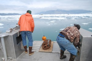 Researchers deploy a hydrophone into Icy Bay, Alaska. Scientists used the underwater microphones to listen and record the average noise levels in three bays in Alaska and Antarctica whose fjords have glaciers that flow into the ocean. They found that the noisiest places in the ocean are where glaciers in fjords melt into the saltwater. Credit: Jeffrey Nystuen.