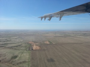 Researchers flew over the Bakken oil field in North Dakota and Montana to gather data about emissions of ethane, a hydrocarbon gas that can damage air quality and impact climate. This is the view from their NOAA Twin Otter aircraft. Credit: Eric Kort