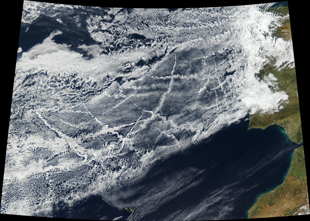 Pollution from ships creates lines of clouds that can stretch hundreds of miles in this satellite image taken 16 January 2018, off the coast of Europe. The narrower ends of the clouds are youngest, while the broader, wavier ends are older. Credit: NASA Earth Observatory