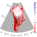 A topographic map of Greenland, with change in reflective 1996-2017 indicated in intensity of red (less reflective) to blue (more reflective) color, and a black line tracing the route of the research team during sample collection.